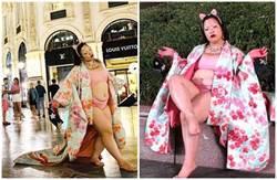 日女星赴米蘭當眾露內衣褲 網友怒轟:國恥