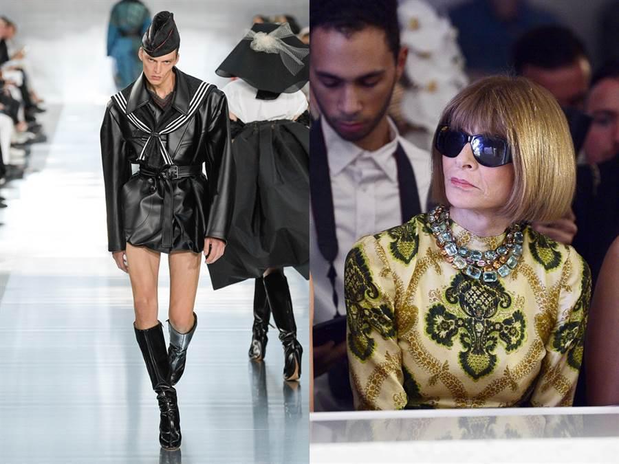 德國男模Leon Dame日前為法國時裝品牌Maison Margiela走秀,超狂台步攫住所有貴賓目光,連時尚女魔頭、美國《時尚雜誌》(Vogue)總編輯溫圖爾都「驚」到笑出來。(圖達志影像、TPG)