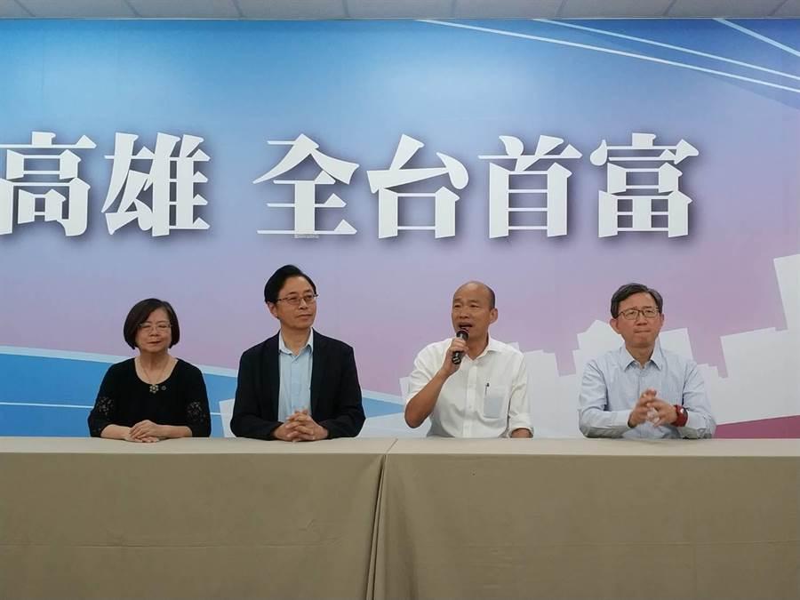 韓競辦表示,若當選會促進外交、捍衛主權。圖為韓國瑜主持國政直播會後聯訪。(資料照,曹明正攝)