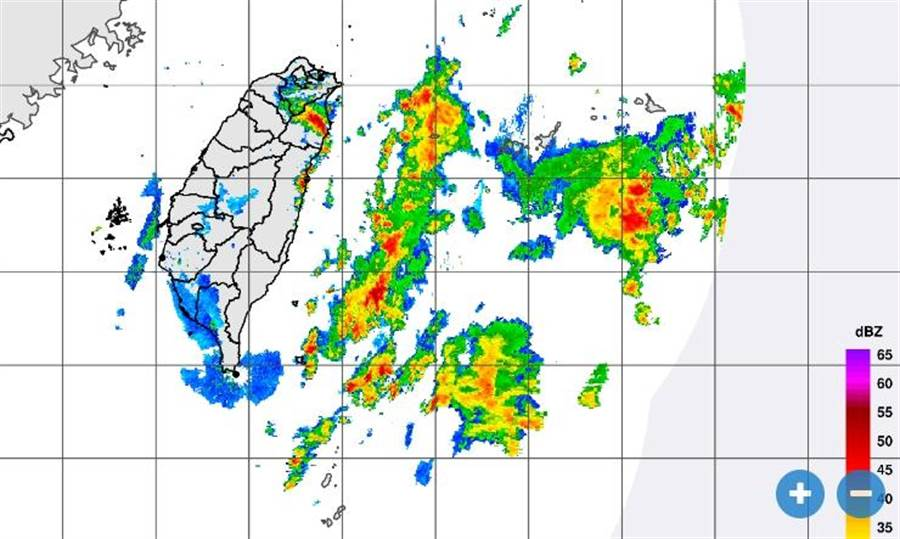 氣象局26日晚間9時20分發布最新雷達合成回波圖。(圖擷自氣象局)
