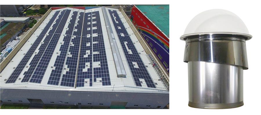廠房安裝太陽能光導引照明系統(左)及「光導照明系統」產品(右)。圖/陽昇綠能提供