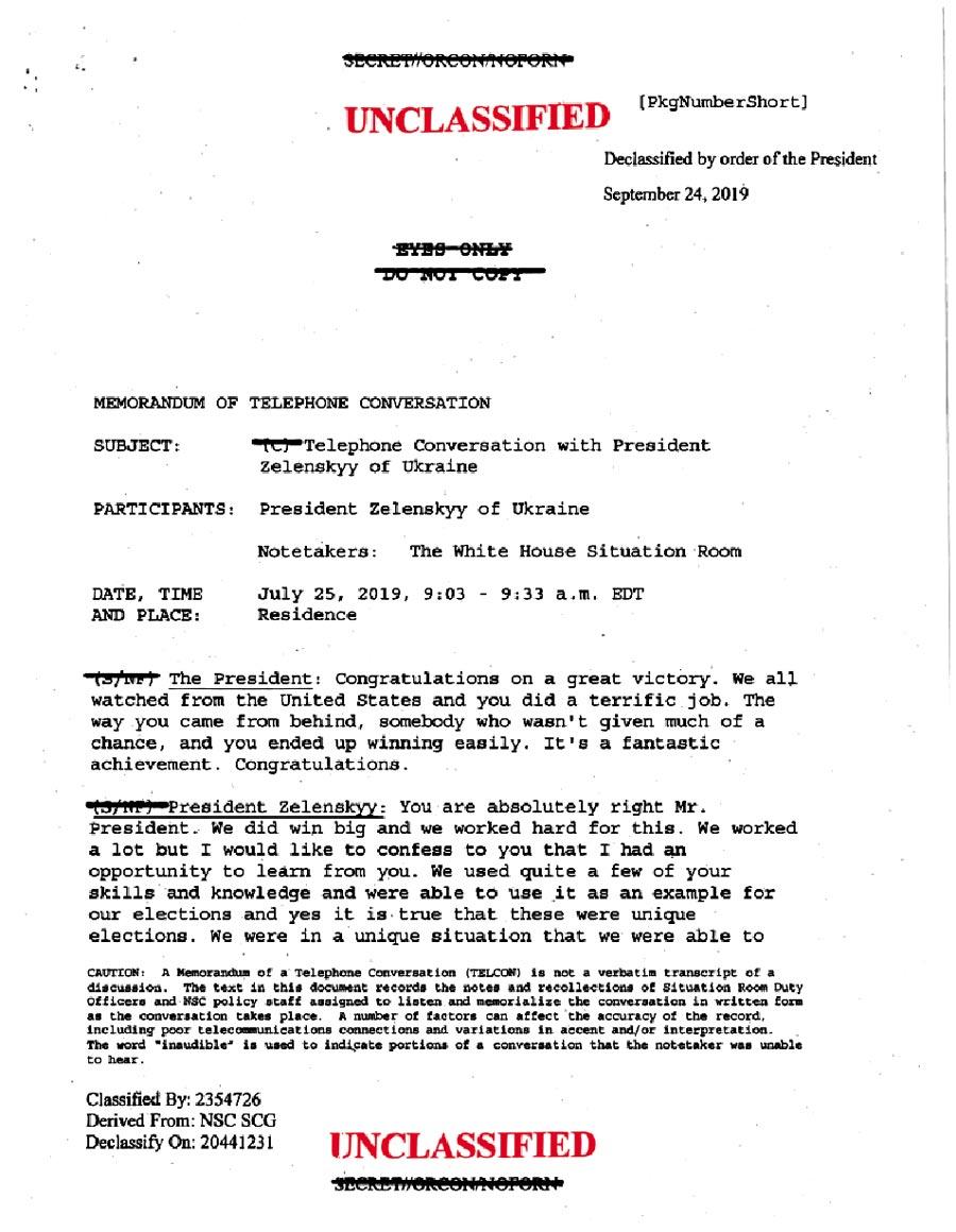 美國公布總統川普和烏克蘭總統澤倫斯基通話記錄。(互聯網)