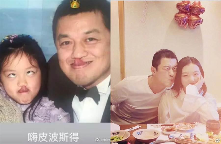 李嫣曬出父女合影。(圖/翻攝自新浪娛樂微博)