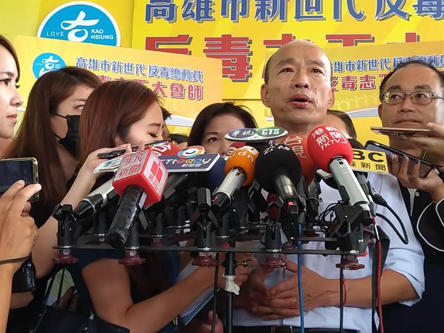 韓國瑜說,高鐵南延屏東案希望能夠經過高雄市區,從長遠來看,這才是最符合高雄及屏東兩個縣市人民的利益。(林雅惠攝)