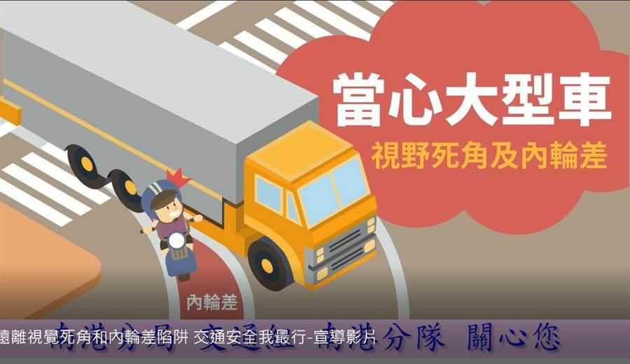 南港分局提醒民眾遠離視覺死角及內輪差陷阱。(南港分局提供/林郁平台北傳真)