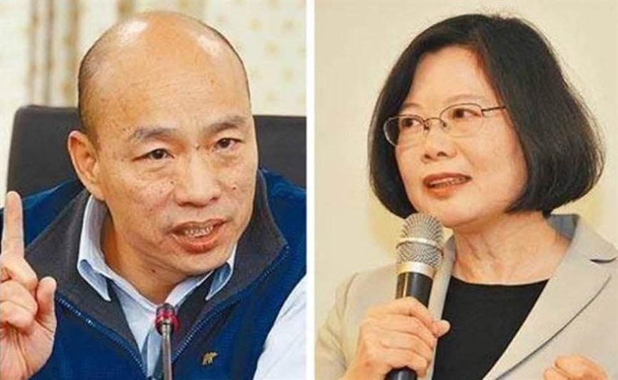 圖為國民黨總統參選人韓國瑜(左)、總統蔡英文(右)。(合成圖/中時資料照)