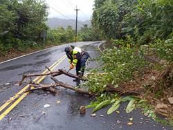 山區道路落石坍塌 警協助管制