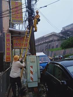 颱風災情!基隆2800多戶停電 摸黑搶修中