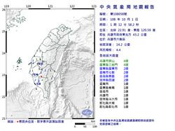 颱風夜!高雄六龜1:12規模4.4地震 網友嚇怕