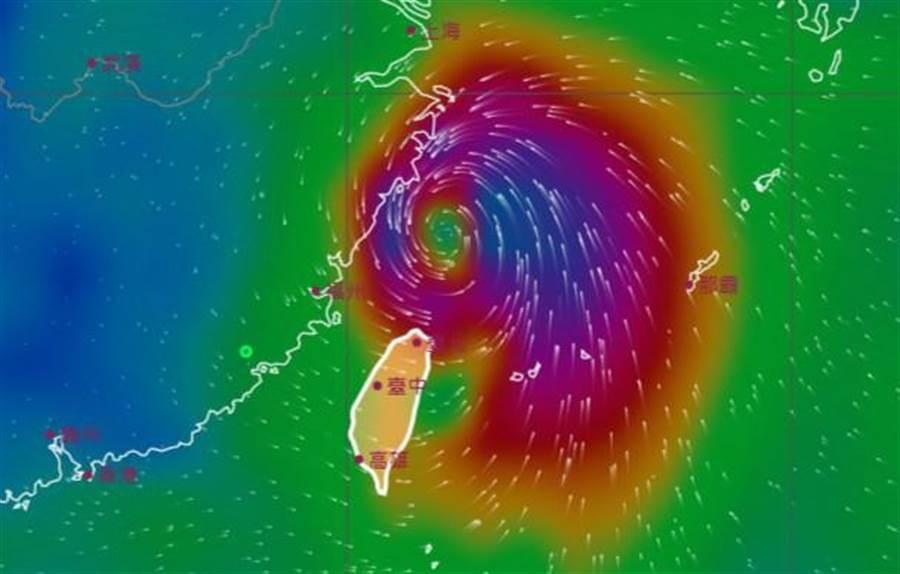 米塔不斷往北移動,目前位於基隆北北東方海域上,將沿著太平洋高壓邊緣向北前進。(摘自中央氣象局)