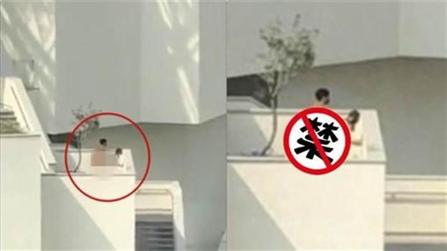 民眾拍到一對男女,疑似大白天在台南美術館露台上演活春宮,影片流出不久,台南警方已找到男主角送辦。(圖/爆料公社)