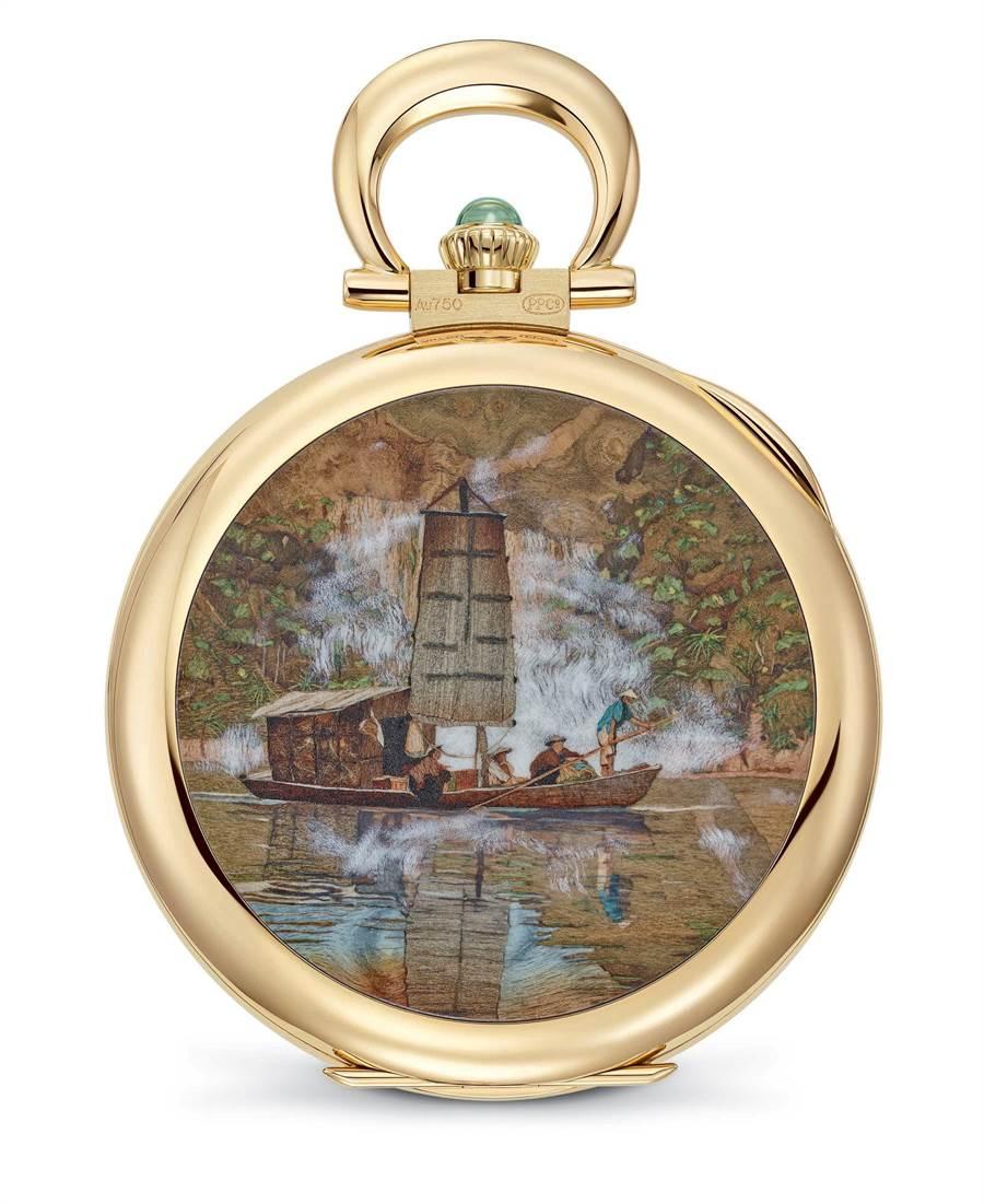 百達翡麗Ref.997-101J 骨董懷表,以嵌木畫詮釋迷霧行舟的景緻,充滿東方風情。(Patek Philippe提供)