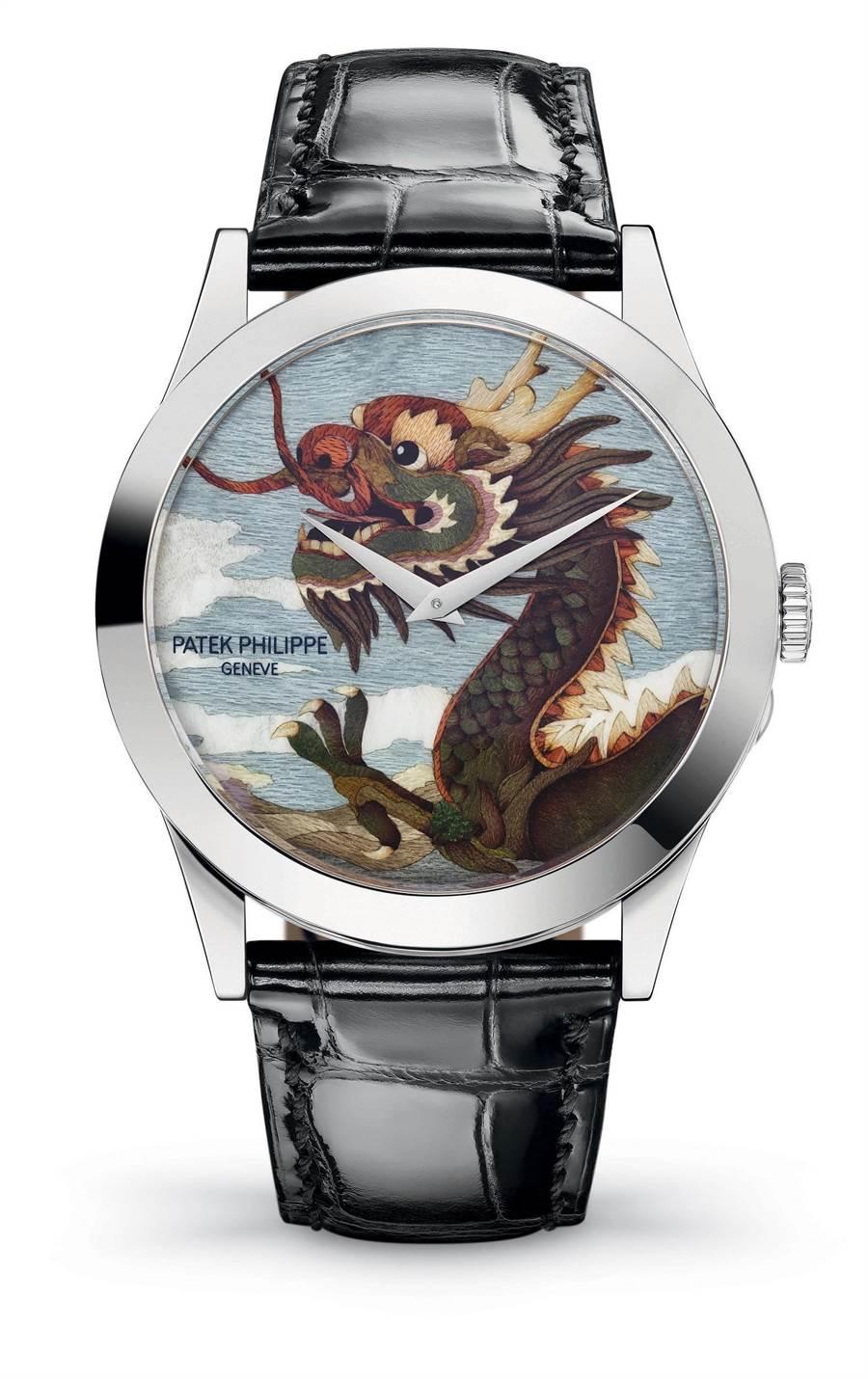 百達翡麗深耕大中華市場,圖為Ref.5089G-083「龍」嵌木畫腕表。(Patek Philippe提供)