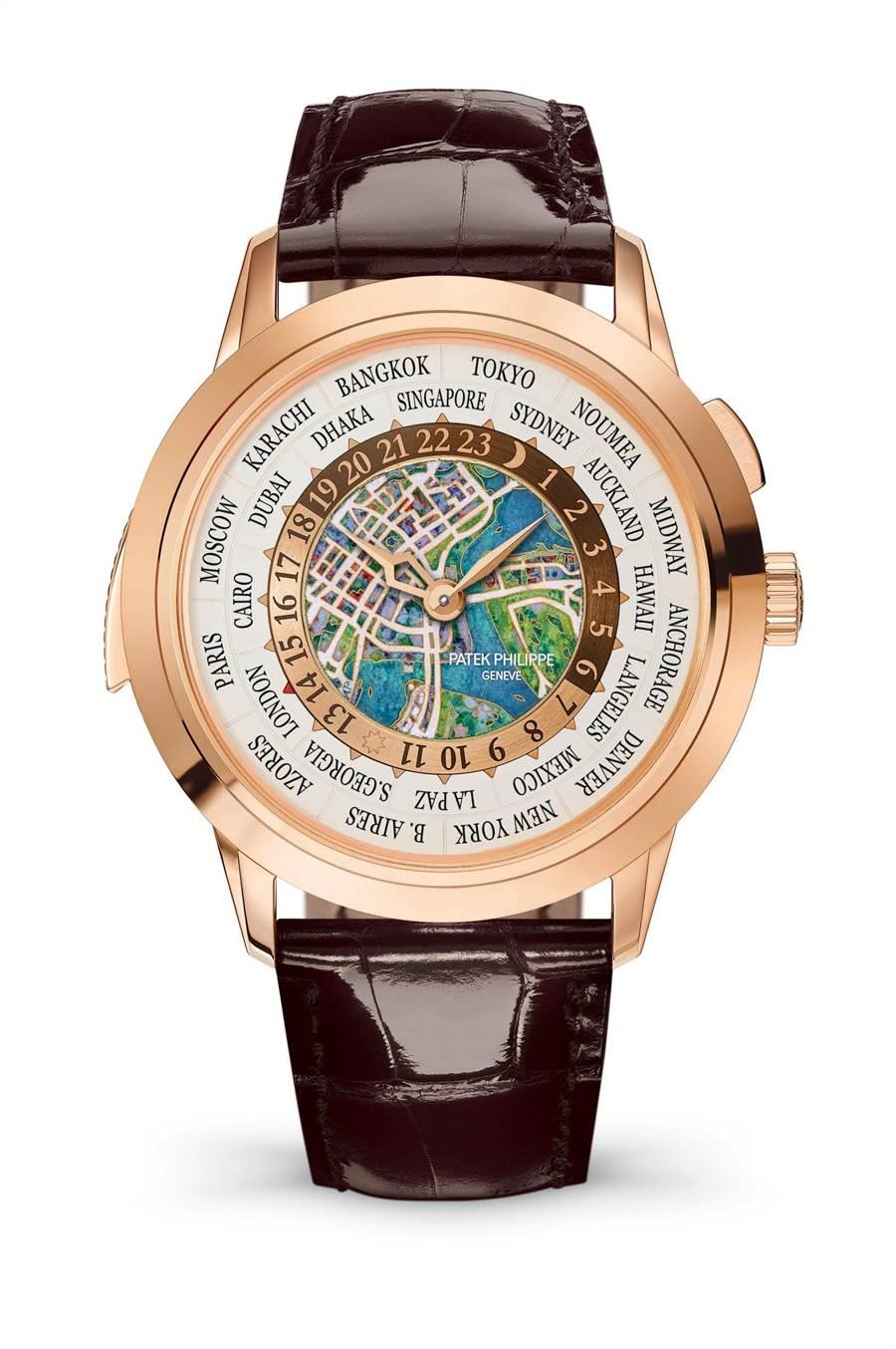 百達翡麗為慶祝新加坡建城200年推出琺瑯彩繪新加坡地圖的Ref.5531世界時間腕表。(Patek Philippe提供)