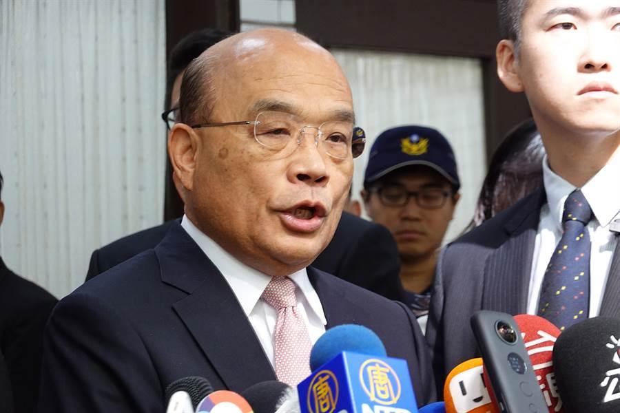行政院長蘇貞昌1日赴立法院備詢前受訪。(姚志平攝)