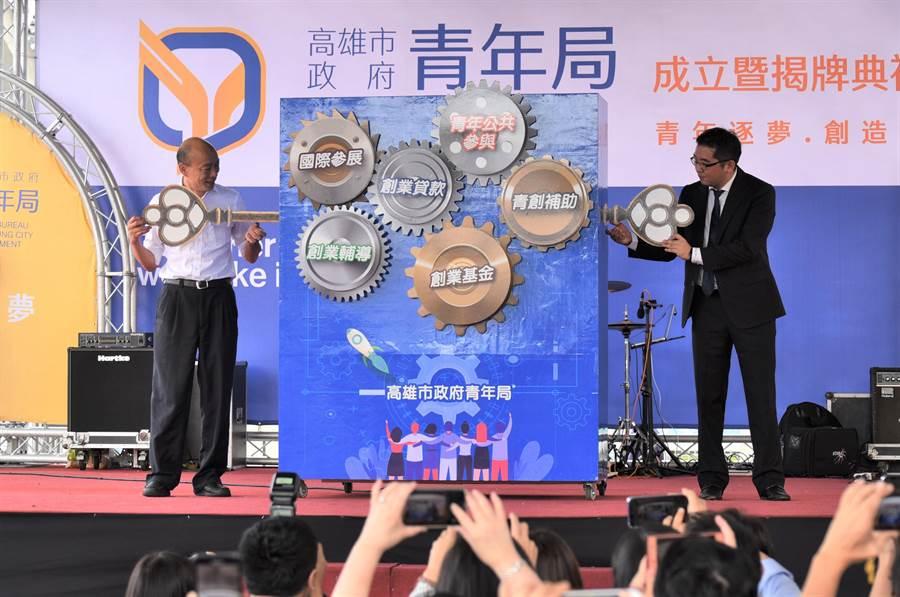 高雄市青年局1日成立,高雄市長韓國瑜(左)、青年局局長林鼎超(右)主持啟動儀式。(林瑞益攝)