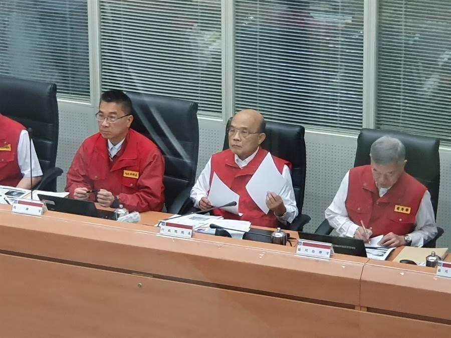 行政院長蘇貞昌在中央災害應變中心主持第4次工作會報。(葉書宏攝)
