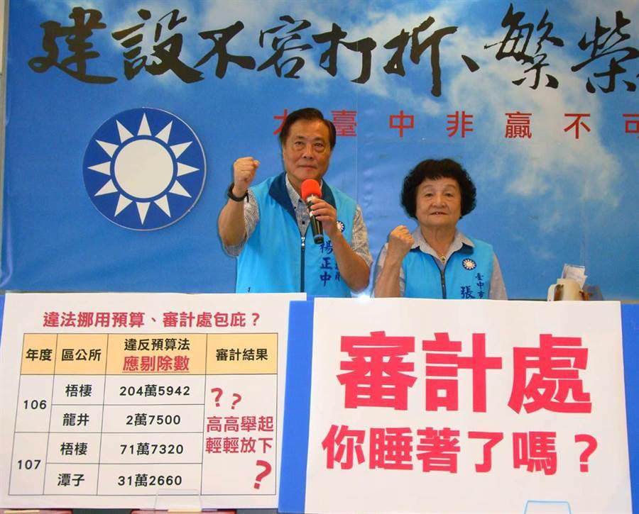 台中市議員楊正中(左)、張瀞分1日聯合舉行記者會,針對台中市107年審計報告提出強烈不滿抨擊。(陳世宗攝)