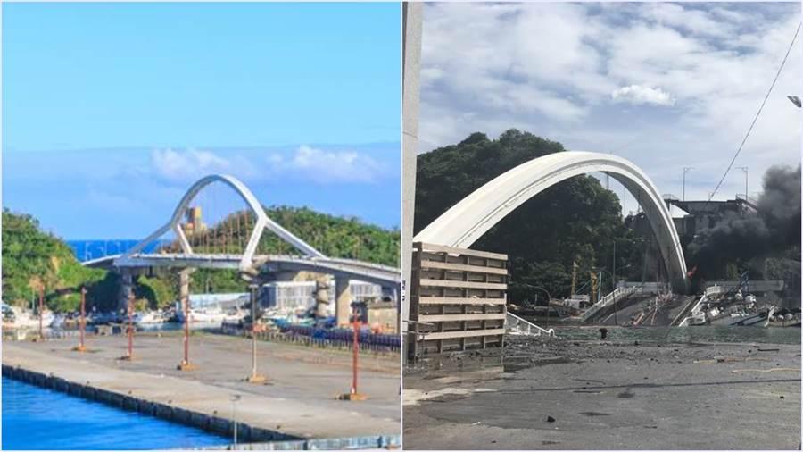 米塔颱台過後南方澳大橋突發生斷橋事件。(圖/蘇澳鎮公所提供)