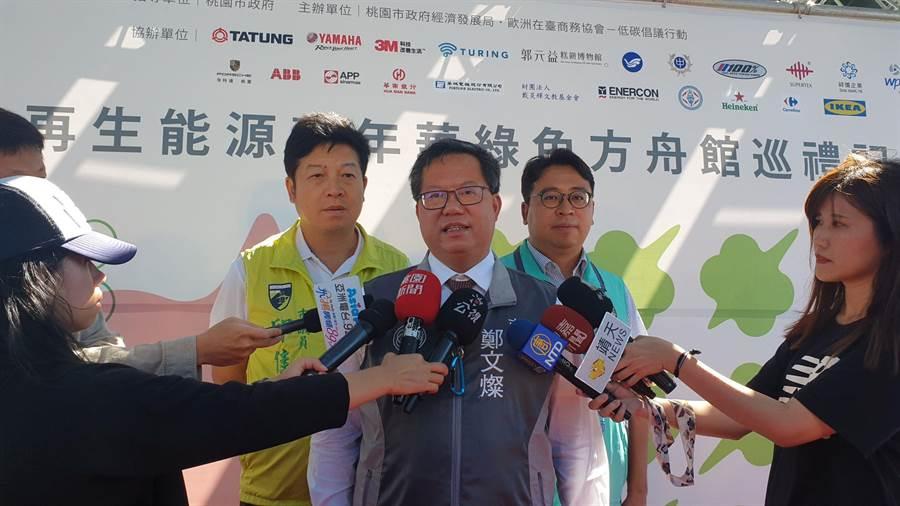 桃園市長鄭文燦表示,竹圍漁港的彩虹橋以及觀海橋,從他上任以後都有檢測、維修,包括懸吊的梁索、螺絲都有更換。(賴佑維攝)