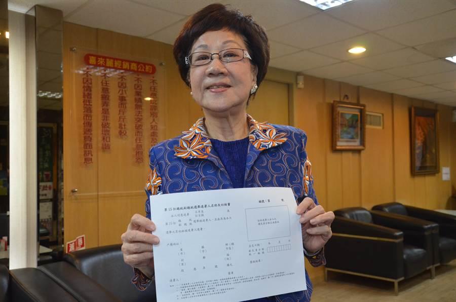 前副總統呂秀蓮宣布參選總統,今天到桃園與媒體茶敘,希望爭取民眾支持連署。(賴佑維攝)