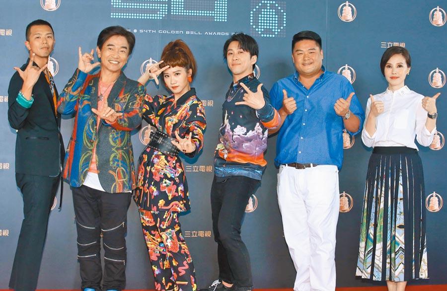 黃鴻升(左起)、吳宗憲與Lulu昨出席三立金鐘分享會。(粘耿豪攝)