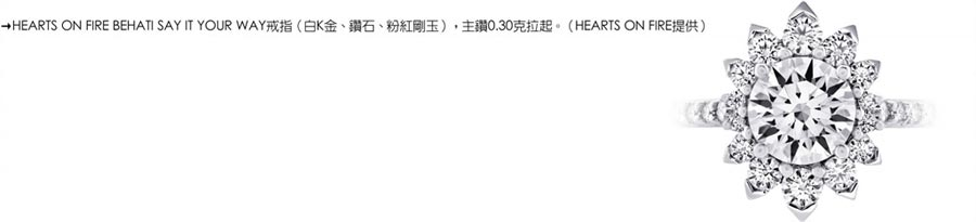 HEARTS ON FIRE BEHATI SAY IT YOUR WAY戒指(白K金、鑽石、粉紅剛玉),主鑽0.30克拉起。(HEARTS ON FIRE提供)