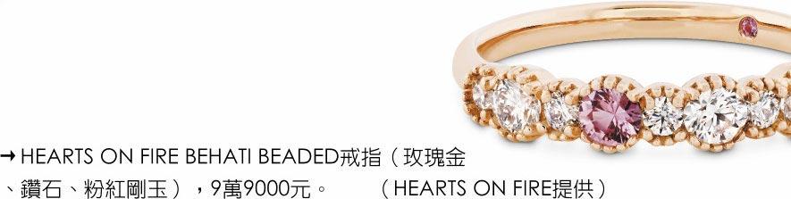HEARTS ON FIRE BEHATI BEADED戒指(玫瑰金、鑽石、粉紅剛玉),9萬9000元。(HEARTS ON FIRE提供)