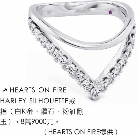 HEARTS ON FIRE HARLEY SILHOUETTE戒指(白K金、鑽石、粉紅剛玉),8萬9000元。(HEARTS ON FIRE提供)