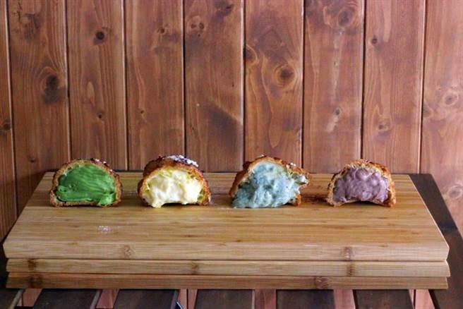 員林市文青甜點店「柒拾蛋糕」從網路銷售起家,靠著美味好口碑打響名氣,招牌法式泡芙有一個手掌大,包括抹茶、原味卡士達、藍莓、巧克力和香甜百香果等等,口味豐富多元。(店家提供/謝瓊雲彰化傳真)