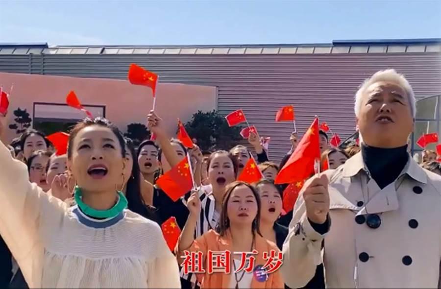 張庭、林瑞陽遠赴法國拍攝慶祝「十一國慶」影片。(圖/張庭微博)
