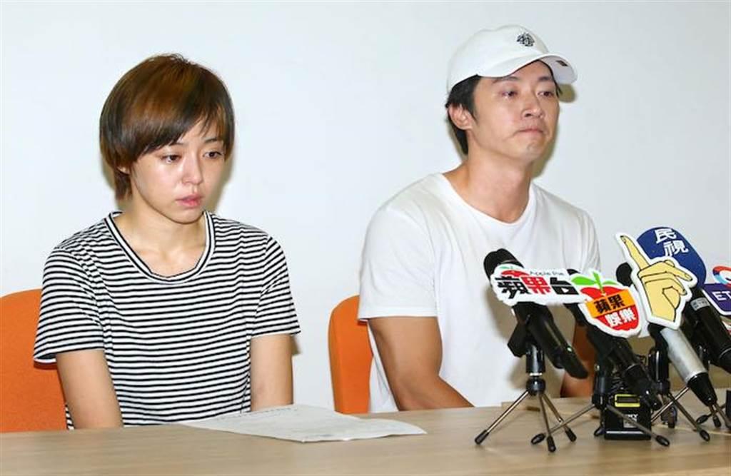 馬俊麟和王瞳傍晚在記者會上認了不倫戀。粘耿豪攝
