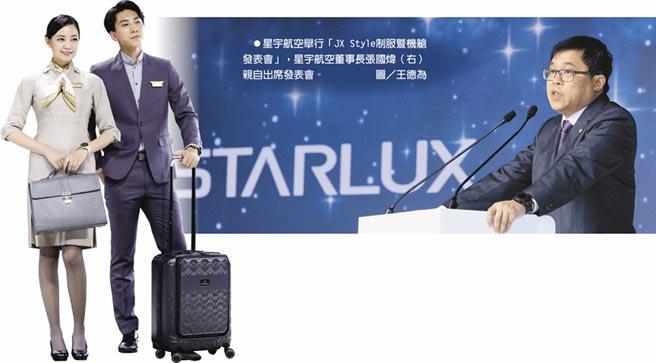 星宇航空舉行「JX Style制服暨機艙發表會」,星宇航空董事長張國煒(右)親自出席發表會。圖/王德為