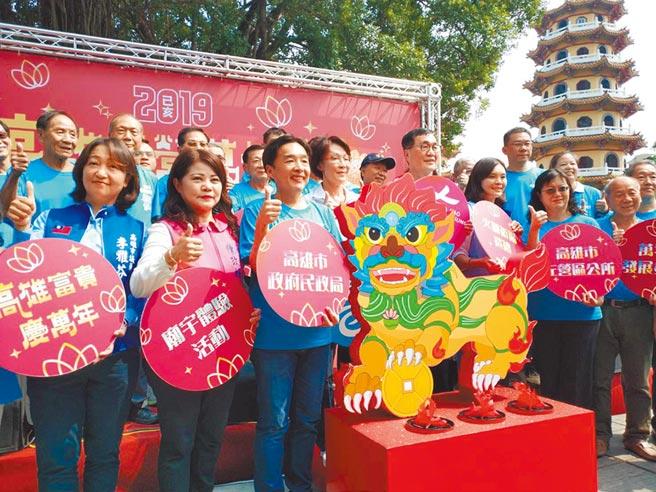 高巿府民政局3日在蓮池潭宣布,第19年的左營萬年季將在國慶連假展開。(曹明正攝)