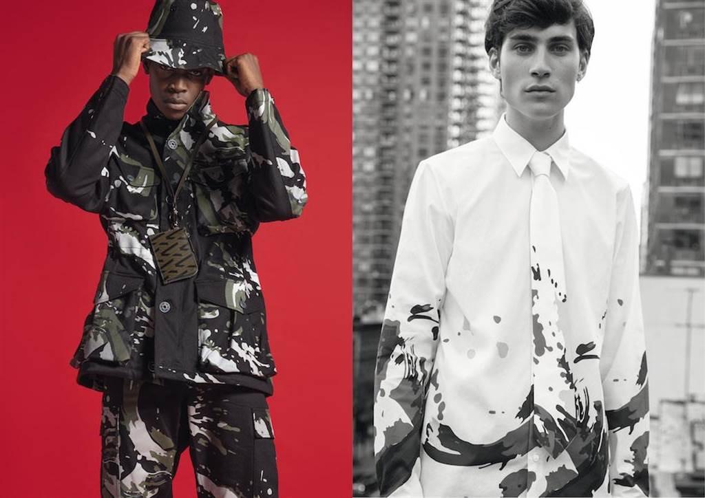 PORTS V 2019第三系列結合哥德式浪漫主義及軍裝元素,將龐克風格融入時裝中。左:PORTS V迷彩口袋夾克1萬6800元。右:PORTS V潑墨花紋襯衫領帶組1萬800元。(微風精品提供)