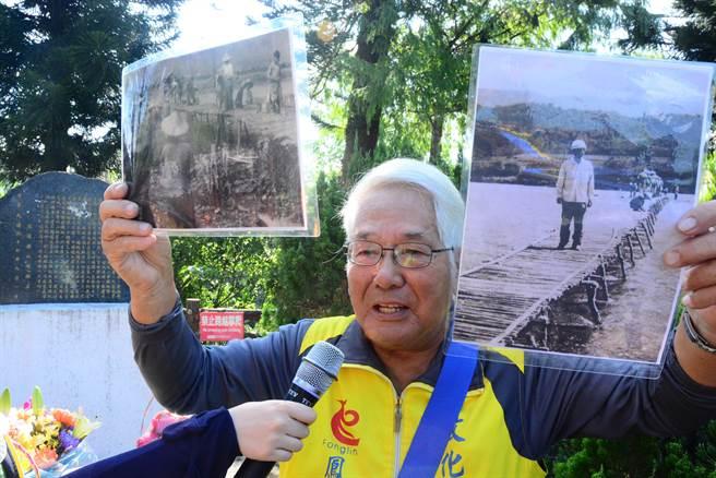 退休校長戴國健引言鳳林鎮故事,感謝張箭、鄧玉瑛兩位老師用生命換來鎮上行的安全。(王志偉攝)
