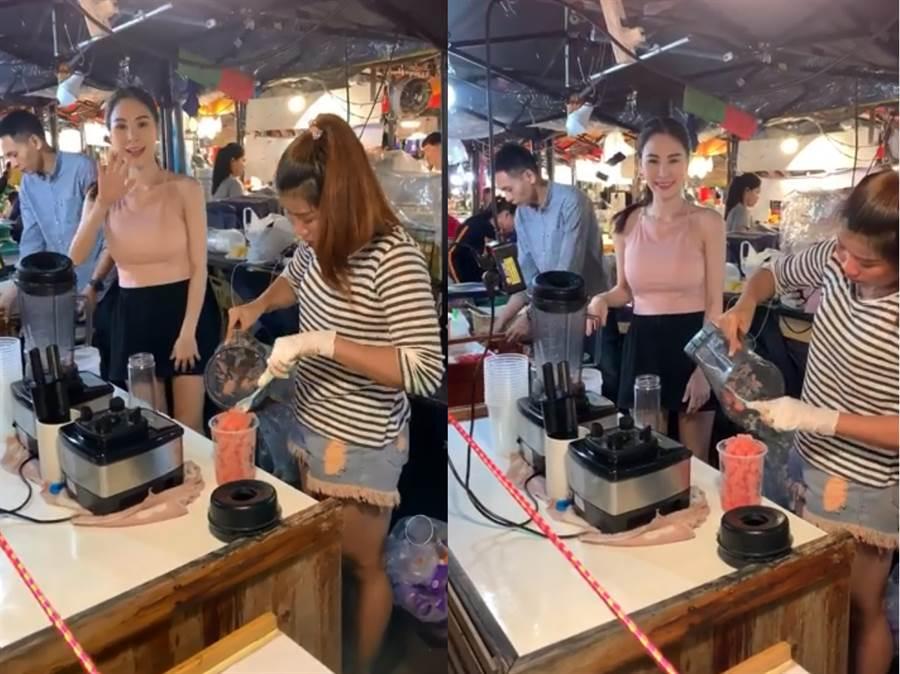 還有人分享至泰國玩時,在拉差達火車夜市的水果攤上也有遇到正妹店員(影片來源/臉書/JKF紅燈區2.0)
