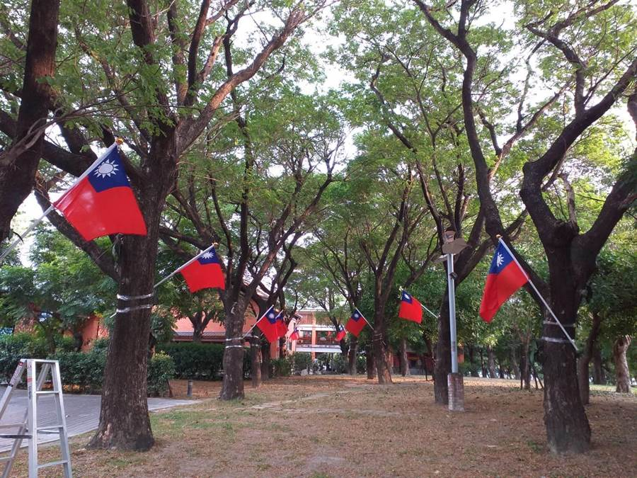 高巿府客家事務委員會所在的園區插滿了上百支國旗,讓人感動。(讀者提供/曹明正高雄傳真)