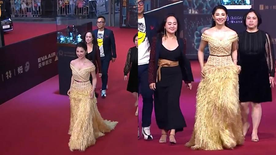 林書煒身著鵝黃色禮服。(圖/翻攝自金鐘54 Youtube)