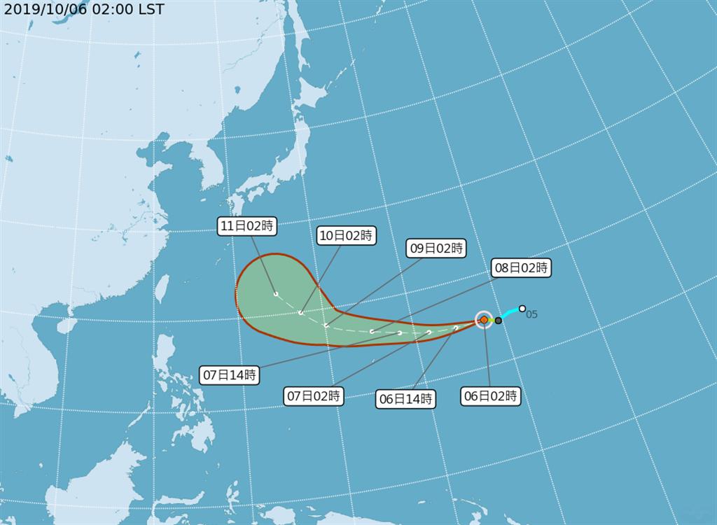 輕度颱風哈吉貝以每小時30公里速度,向西進行。(圖擷自氣象局)