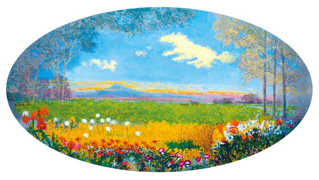「小河慢慢流」油彩畫布50號,以平原小河為題,描繪平靜歡愉的鄉居生活。天空中的白雲,和緩飄過,風穿過林梢,拂過綠野花叢,真是世外桃花源。照片提供許敏雄