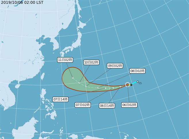 熱帶性低氣壓已於今天2時發展成颱風,命名為「哈吉貝」。(翻攝自中央氣象局/林良齊台北傳真)