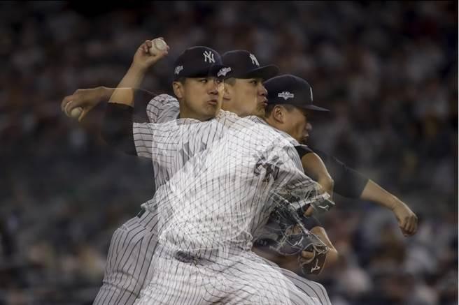 洋基先發投手田中將大對雙城拿下勝投。(美聯社)