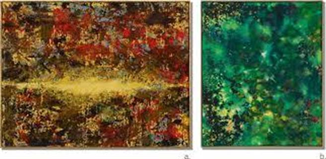 台積電創辦人張忠謀夫人張淑芬兩件畫作「祝福」、「無題」, 5日以375萬港元(約1,479萬台幣 )成交。(圖/蘇富比)