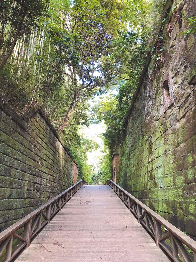 猿島充滿各式軍事遺跡,徒步路徑兩旁古木參天。(劉育良攝)
