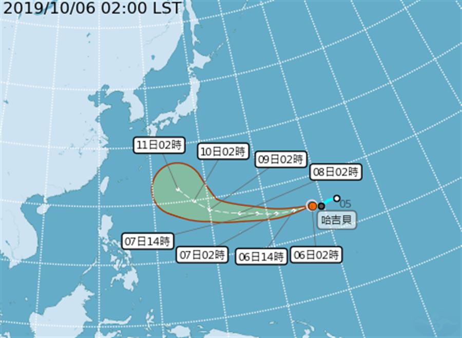 今年第19號颱風、輕颱哈吉貝今天凌晨2點生成(圖/中央氣象局)