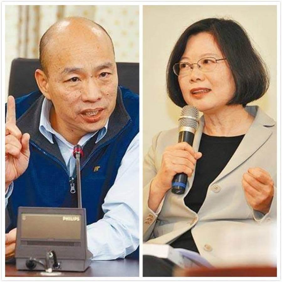 國民黨總統參選人韓國瑜(左)、總統蔡英文(右)。(中時資料照片)