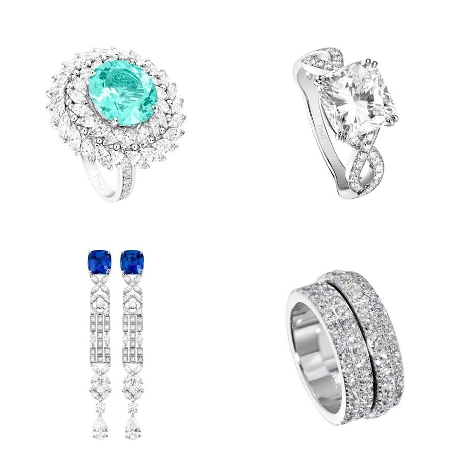 左上/PIAGET碧璽戒指,18K白金、鑲嵌1顆莫桑比克橢圓形切割帕拉依巴碧璽,重約6.04cts、41顆欖尖形切割美鑽,總重約3.41cts、18顆圓形切割美鑽,共約0.25cts;左下/PIAGET藍寶石耳環,18K白金、鑲嵌2顆斯里蘭卡枕形切割藍寶石,總重約10.33cts、2顆梨形切割美鑽,總重約3.01cts、28顆欖尖形切割美鑽,總重約3.92cts、28顆公主形切割美鑽,總重約2.52cts、6顆圓形切割美鑽,總重約1.11cts、8顆三角形切割美鑽,總重約1.20cts;右上/PIAGET鉑金鑽石戒指,鉑金、鑲嵌1顆方形切割美鑽,約4.01cts、58顆圓形切割美鑽,總重約0.65cts;右下/PIAGET白金鑲鑽戒指,18K白金、鑲嵌122顆圓形切割美鑽,總重約3.85cts。(圖/品牌提供)