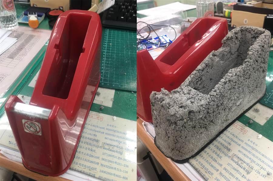 膠檯裏頭的本體竟是凹凸不平且龜裂的水泥。(圖/摘自臉書《爆廢公社公開版》)