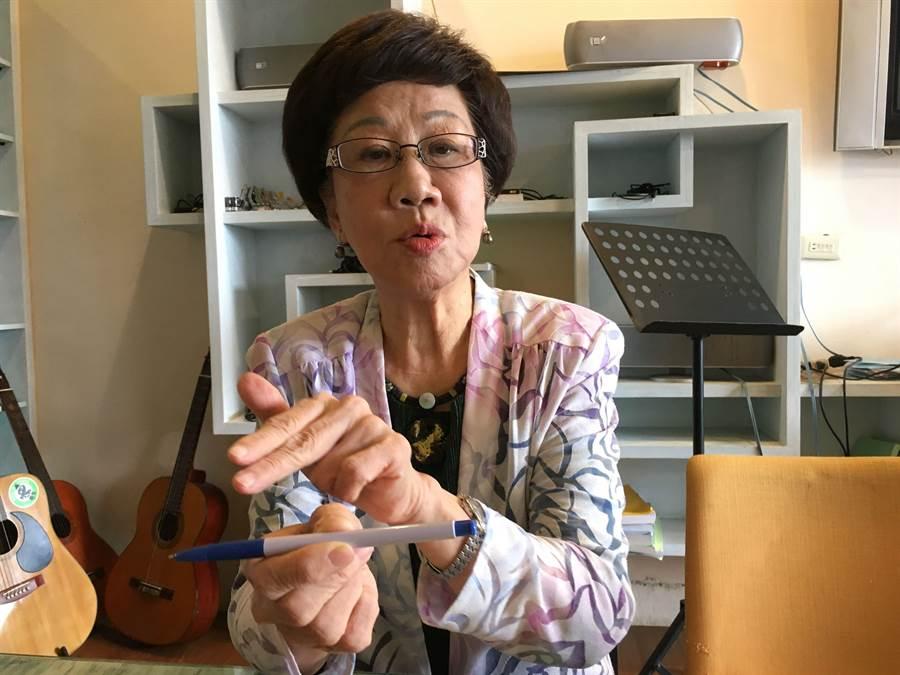 前副總統呂秀蓮用筆批評藍綠兩黨親中或親美,不如保持中立更能保障台灣安全。(廖素慧攝)